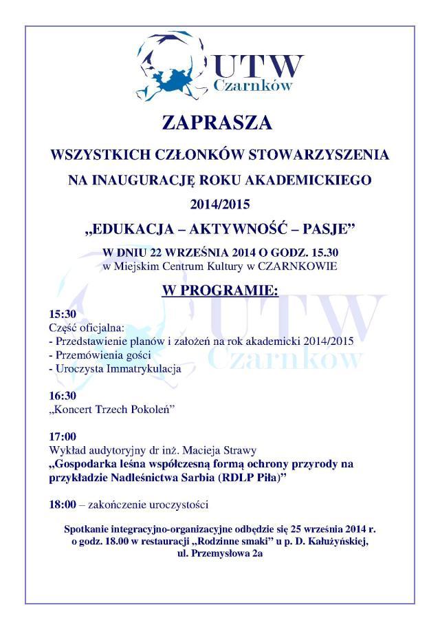 Wykład audytoryjny inauguracyjny 2014-2015